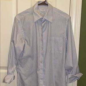 Line Pattern Athletic Fit Dress Wrinkle Free Shirt